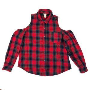 Red Blue Multi Plaid Studded Cold Shoulder Flannel
